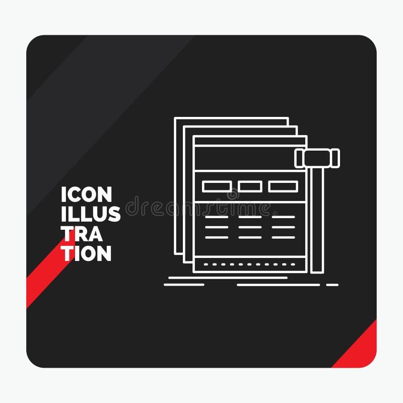 Fond créatif rouge et noir de présentation pour l'Internet, page, Web, page Web, ligne icône de wireframe illustration libre de droits