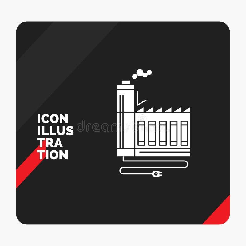 Fond créatif rouge et noir de présentation pour la consommation, ressource, énergie, usine, icône de fabrication de Glyph illustration de vecteur