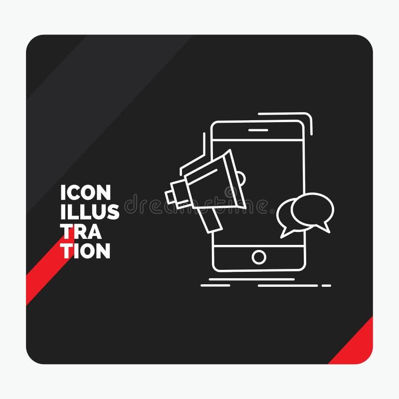 Fond créatif rouge et noir de présentation pour le corne de brume, vente, mobile, mégaphone, ligne icône de promotion illustration stock