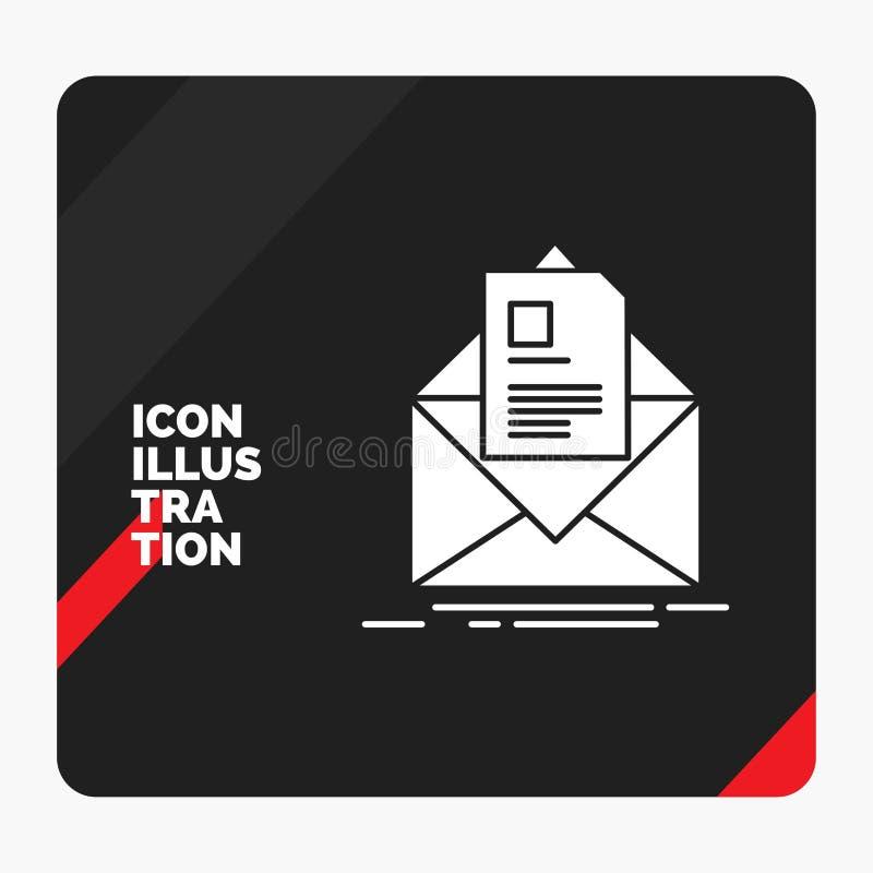 Fond créatif rouge et noir de présentation pour le courrier, contrat, lettre, email, donnant des instructions l'icône de Glyph illustration de vecteur