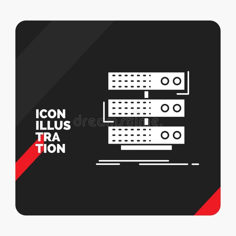 Fond créatif rouge et noir de présentation pour le serveur, stockage, support, base de données, icône de Glyph de données illustration libre de droits
