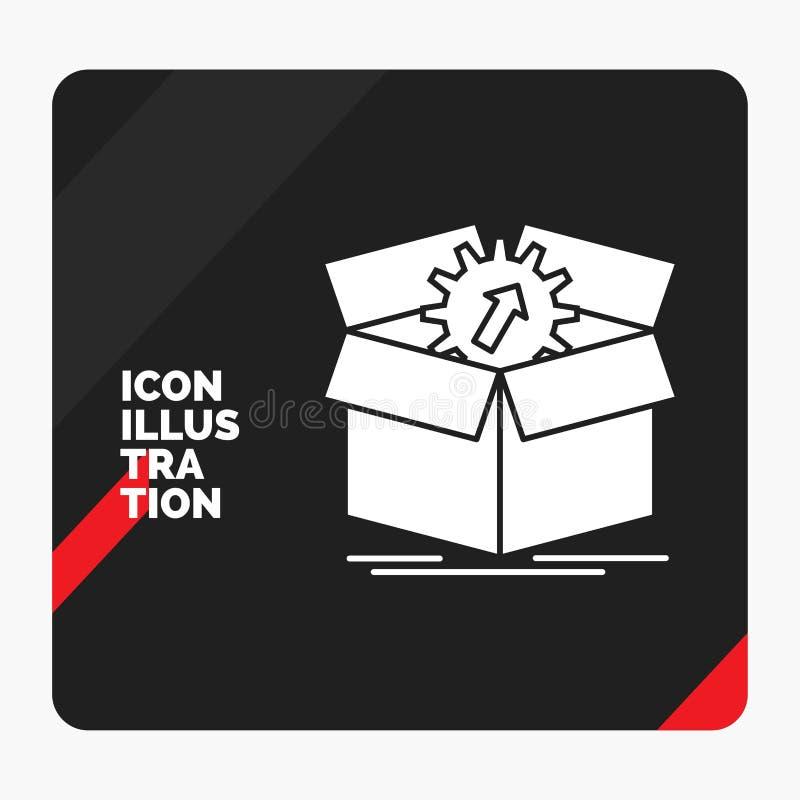 Fond créatif rouge et noir de présentation pour le téléchargement, représentation, productivité, progrès, icône de Glyph de trava illustration libre de droits