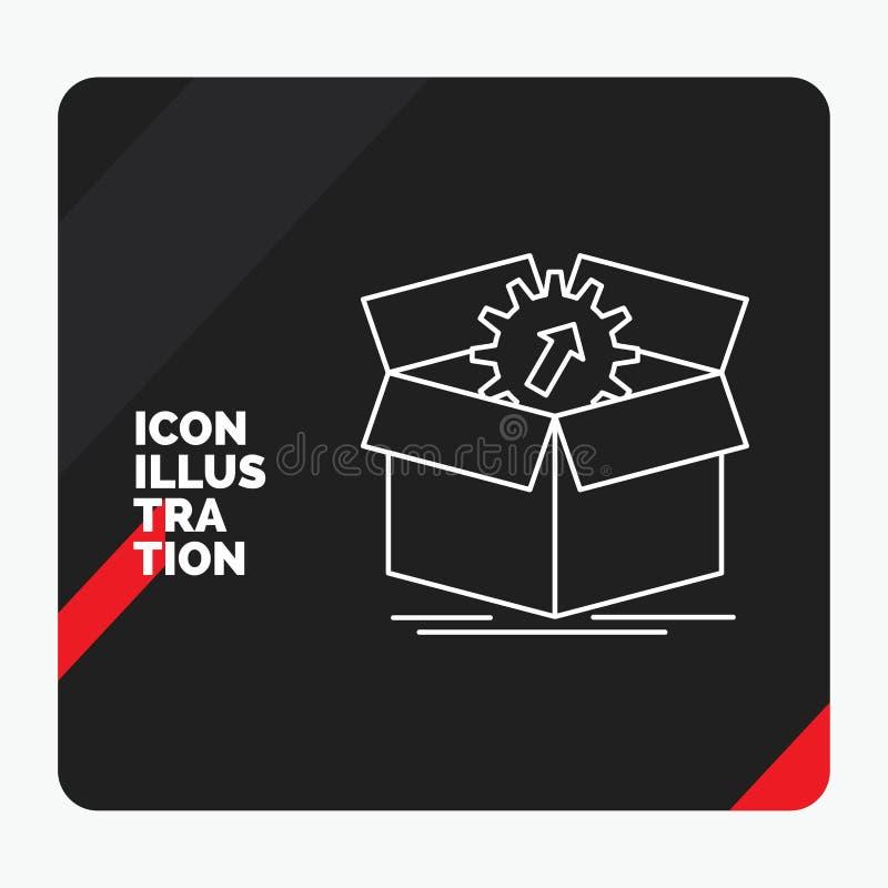 Fond créatif rouge et noir de présentation pour le téléchargement, représentation, productivité, progrès, ligne icône de travail illustration de vecteur
