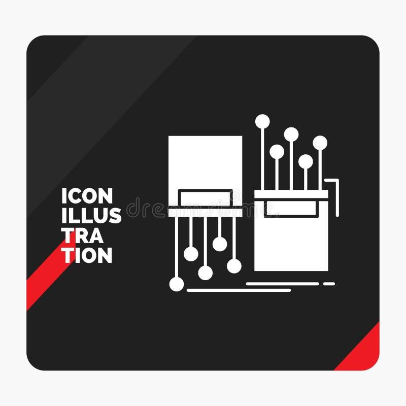 Fond créatif rouge et noir de présentation pour numérique, fibre, électronique, ruelle, icône de Glyph de câble illustration stock