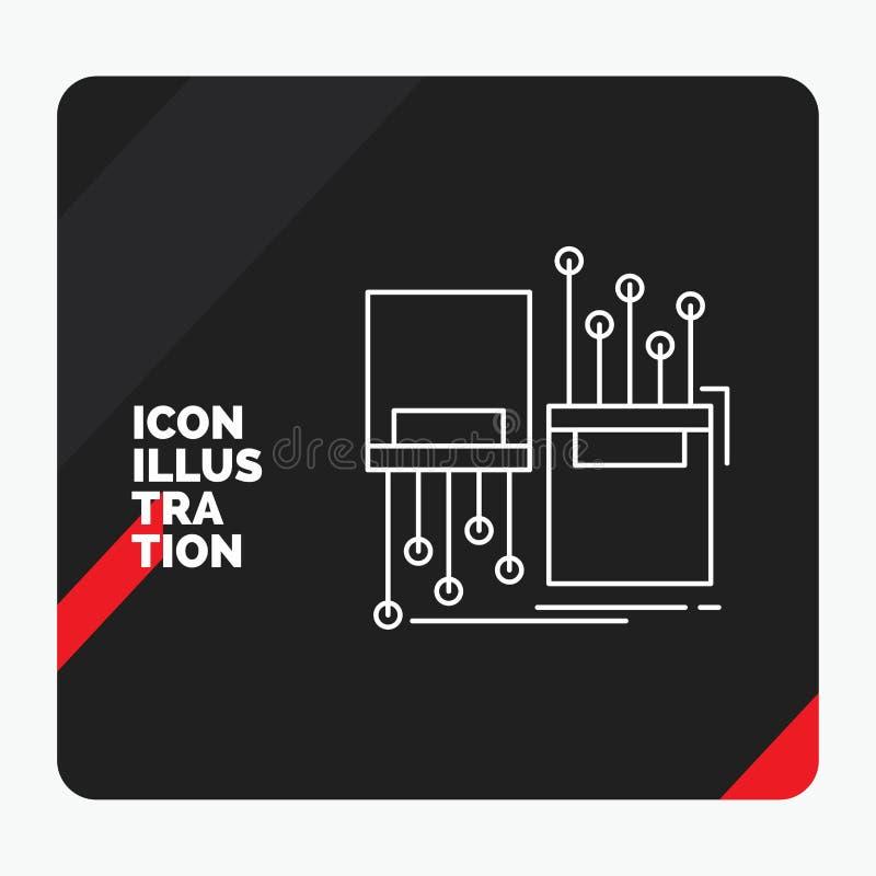 Fond créatif rouge et noir de présentation pour numérique, fibre, électronique, ruelle, ligne icône de câble illustration stock