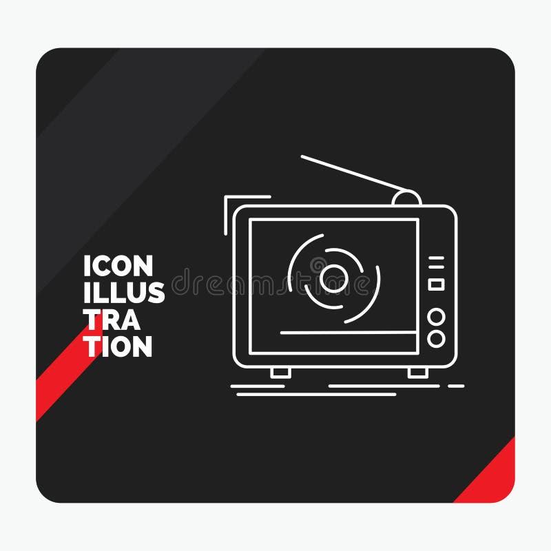 Fond créatif rouge et noir de présentation pour TV, annonce, la publicité, télévision, ligne réglée icône illustration libre de droits