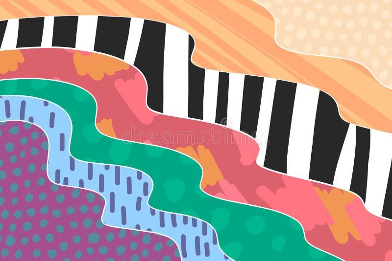 Fond cr?atif d'art tir? par la main dans des couleurs vibrantes collage Vecteur illustration stock