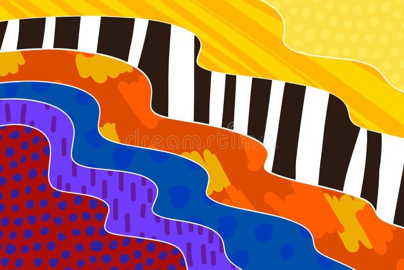 Fond cr?atif d'art tir? par la main dans des couleurs vibrantes collage Vecteur illustration de vecteur