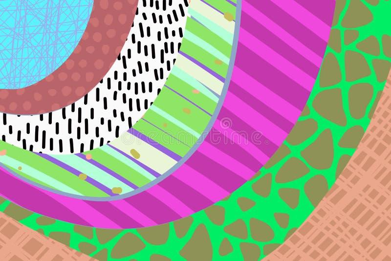 Fond cr?atif d'art tir? par la main dans des couleurs vibrantes collage Vecteur Textures pour la plaquette d'invitation de couver illustration stock