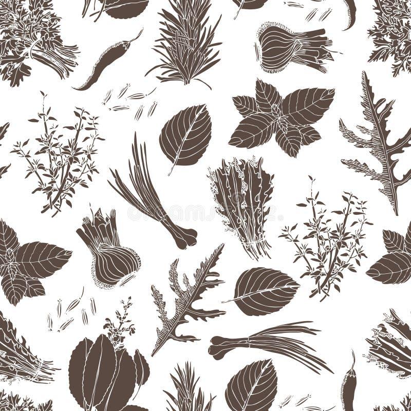 Fond culinaire d'herbes illustration stock