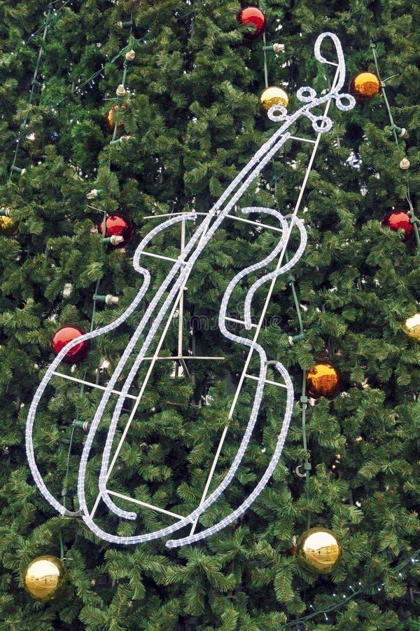 Fond décoré d'arbre de Noël image libre de droits