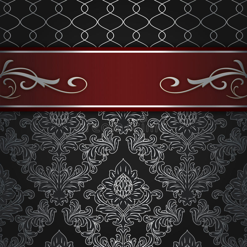 Fond décoratif avec la frontière rouge élégante illustration de vecteur
