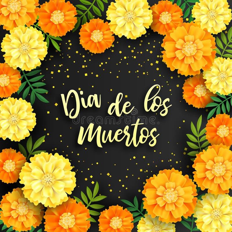 Fond décoratif avec les soucis oranges, symbole du jour mexicain de vacances des morts Illustration de vecteur illustration stock