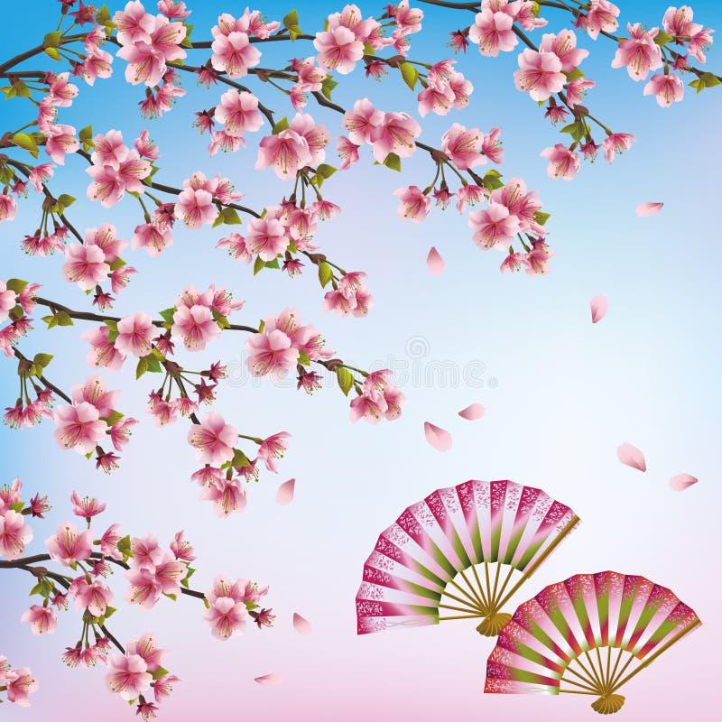 Fond décoratif avec Sakura - cherr japonais illustration stock