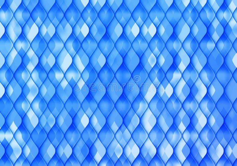 Fond décoratif bleu et blanc Les poissons de vecteur mesurent la texture de mosaïque Papier peint abstrait de paillettes illustration de vecteur
