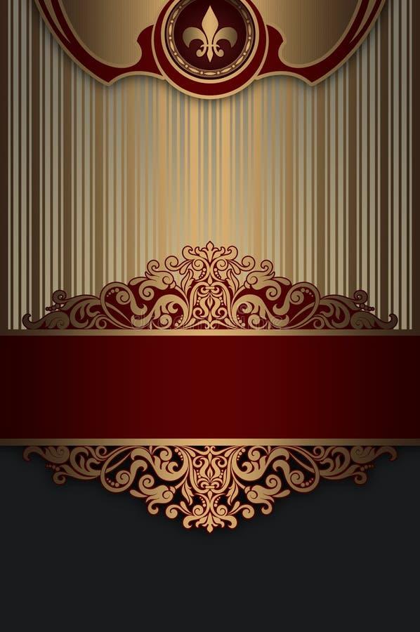 Fond décoratif d'or avec des modèles de vintage illustration libre de droits