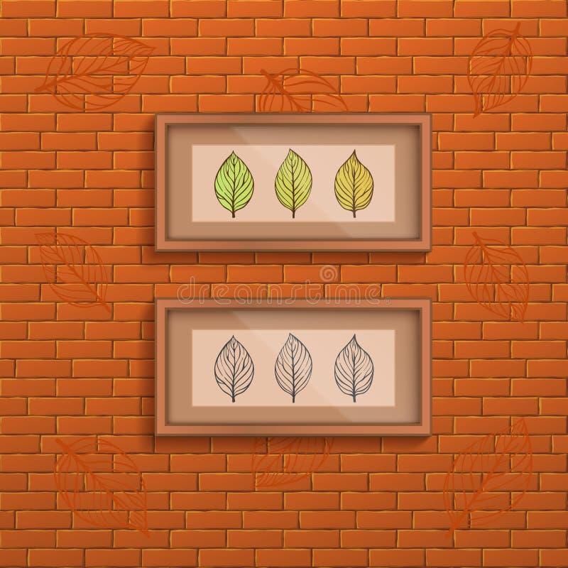 Fond décoratif de mur de briques avec deux cadres intérieurs avec la photo de feuilles de griffonnage illustration de vecteur