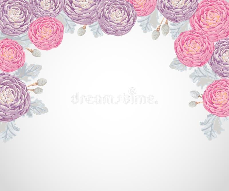 Fond décoratif de vacances avec les camélias roses et pourpres, le miller poussiéreux et le brunia d'argent illustration libre de droits