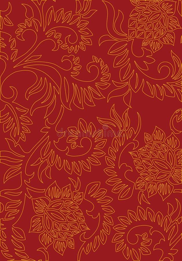 Fond décoratif floral abstrait sur la couleur rouge, illus de vecteur illustration de vecteur