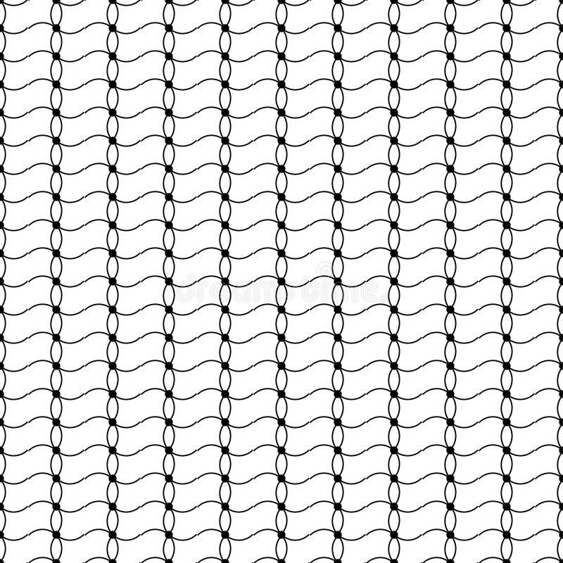 Fond décoratif noir et blanc sans couture avec des lignes et des points de polka illustration de vecteur