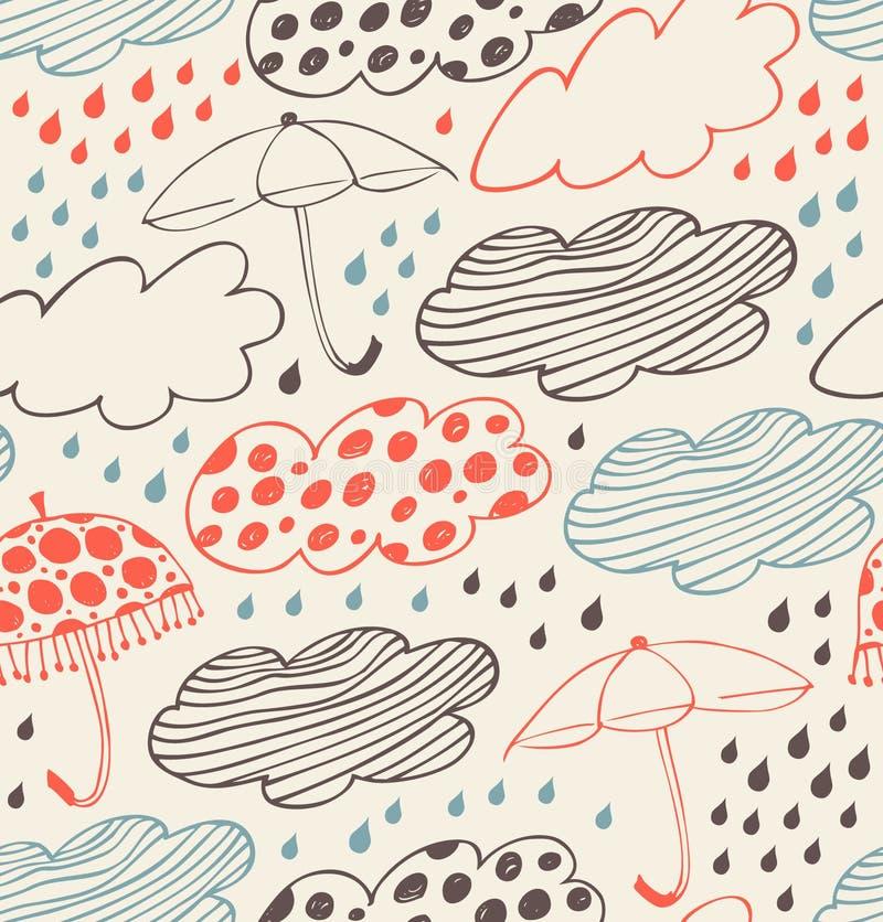 Fond décoratif sans couture pluvieux illustration stock