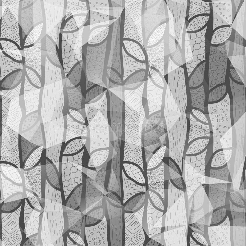 Fond désaturé de modèle, géométrique et de feuille de ressort de couleur grise naturelle, imagination en bois magique, surface de illustration stock