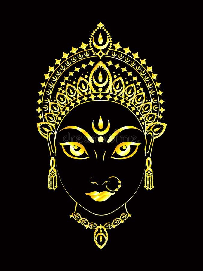 Fond détaillé d'or artistique abstrait de durga illustration de vecteur