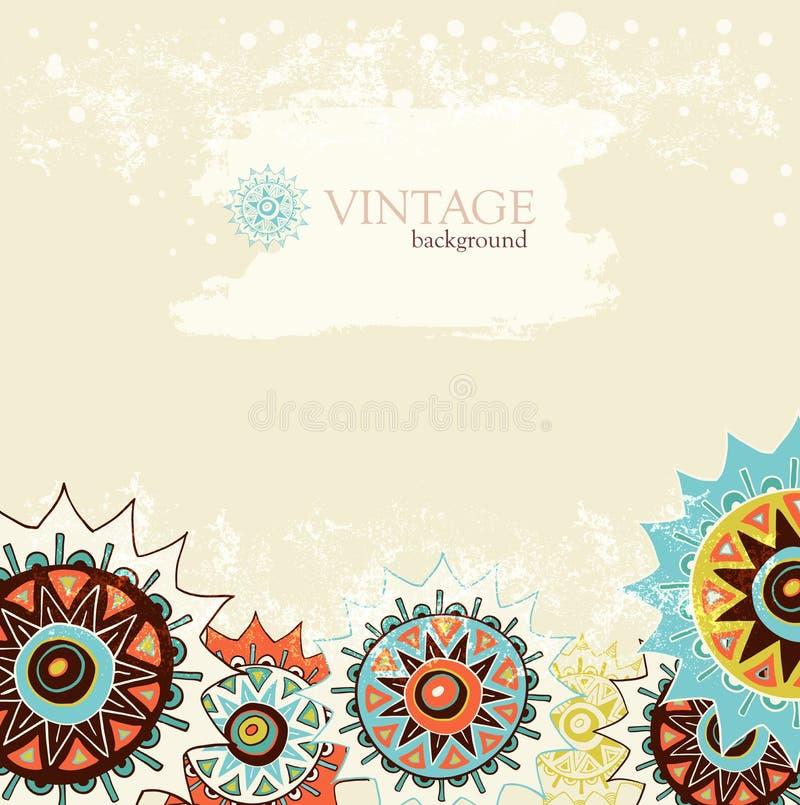 Fond détaillé d'ornement avec les cercles colorés illustration stock