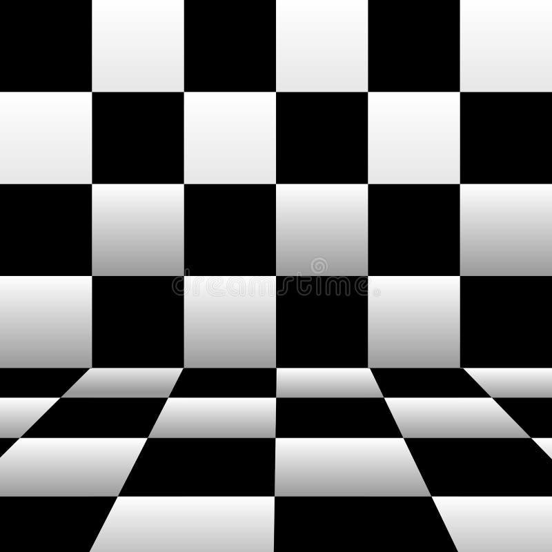 Fond d'échecs avec le mur et le plancher Illustration de vecteur dans la perspective photo libre de droits