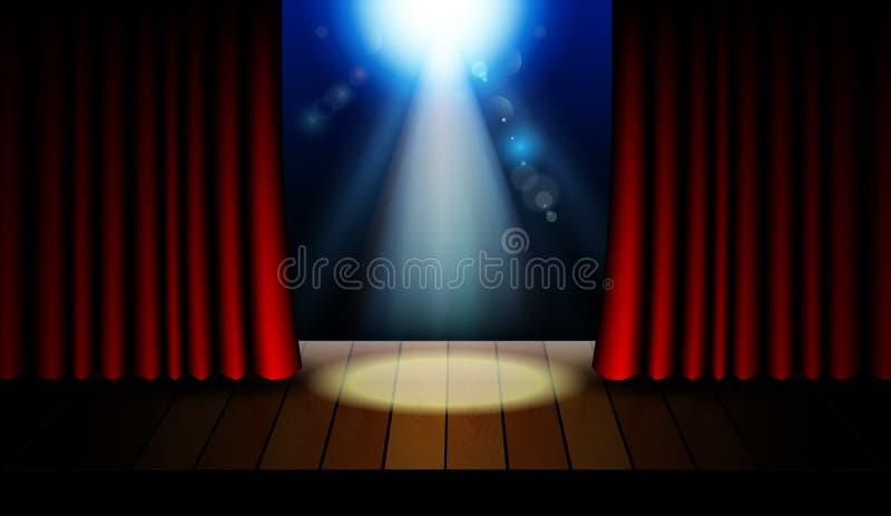 Fond d'éclairage d'étape avec des effets de projecteur illustration libre de droits