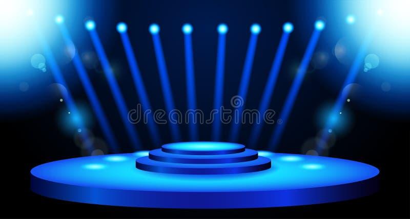 Fond d'éclairage d'étape avec des effets de projecteur illustration de vecteur