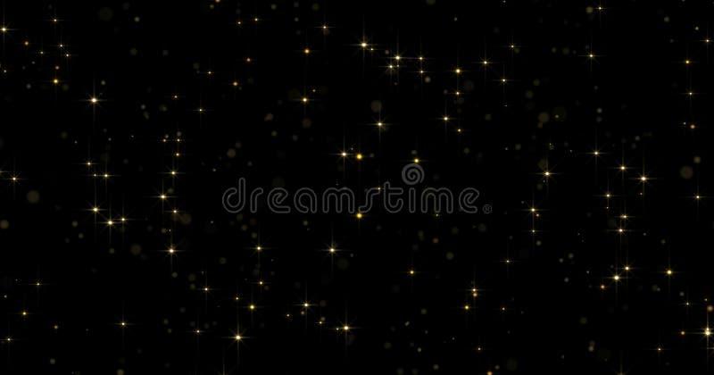 Fond d'éclat de particules d'or avec le bokeh léger et miroiter de lueur l'effet magique léger de la poussière Particules et lueu illustration de vecteur