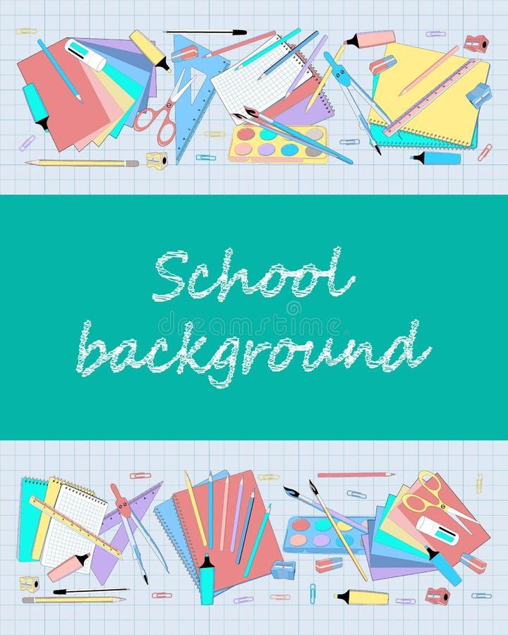 Fond d'école avec le tableau et le papier à carreaux illustration stock