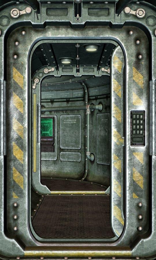 Fond d'écoutille et de couloir de vaisseau spatial illustration de vecteur