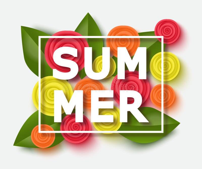 Fond d'été avec de belles fleurs Calibre d'illustration de vecteur, bannières Papier peint, insectes, invitation, affiches illustration libre de droits
