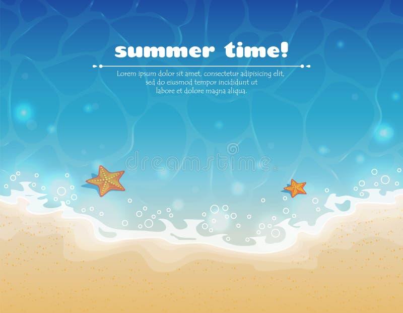 Fond d'été avec de l'eau le sable et illustration de vecteur