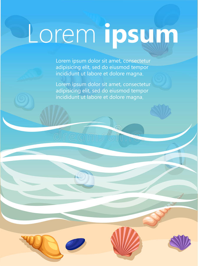 Fond d'été avec la plage tropicale Lapide le cadre des vacances d'été de mousse de vagues de coquilles de mer, station de vacance illustration libre de droits