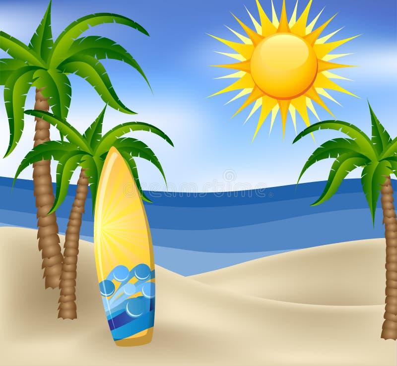 Fond d'été avec la planche de surf et les palmiers illustration libre de droits