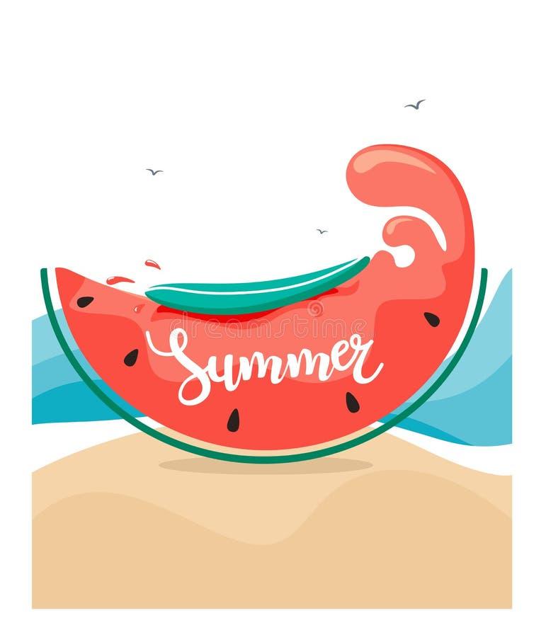 Fond d'été avec la tranche stylisée de pastèque sous forme de vague avec une planche de surf sur le sable et les oiseaux Illustra illustration libre de droits