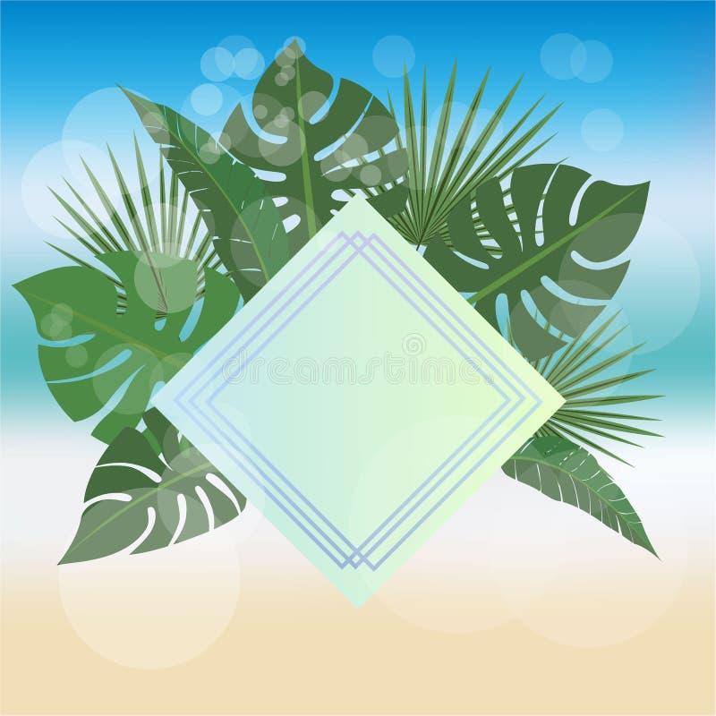Fond d'été avec le label blanc d'or de losange illustration libre de droits