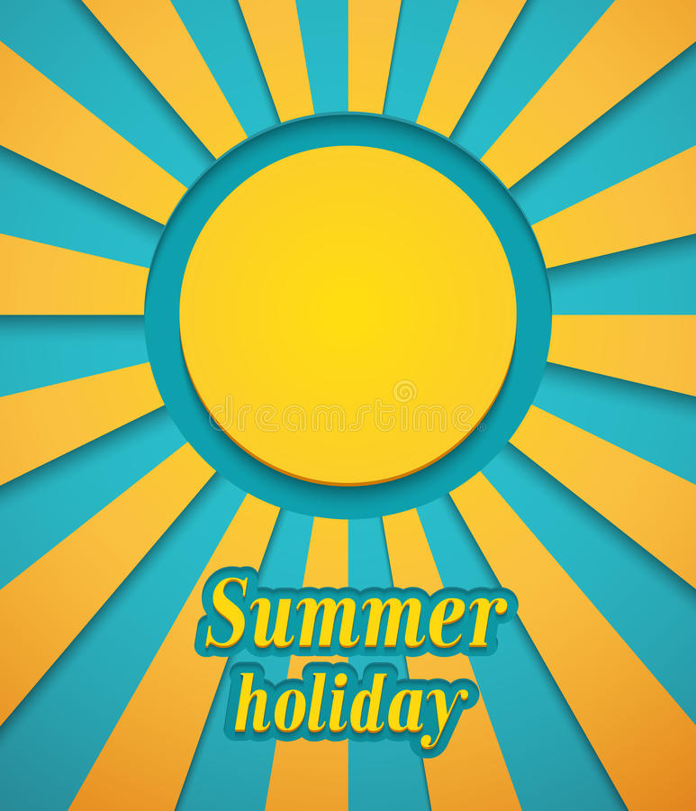 Fond d'été avec le soleil. illustration de vecteur