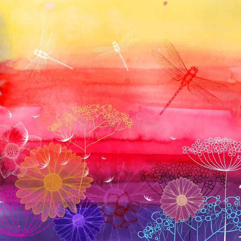 Fond d'été d'aquarelle Croquis de fond de fleur illustration de vecteur