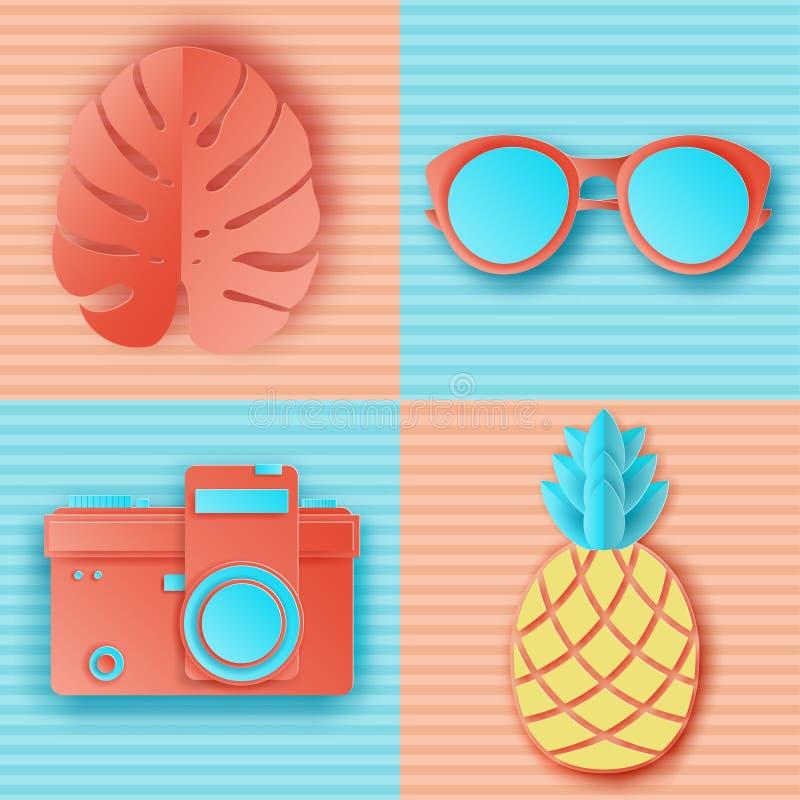 Fond d'été dans des couleurs en pastel Rétro appareil-photo de photo coupé par papier illustration de vecteur