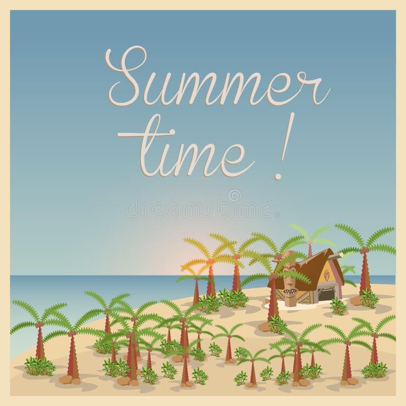 Fond d'été dans le rétro style illustration libre de droits