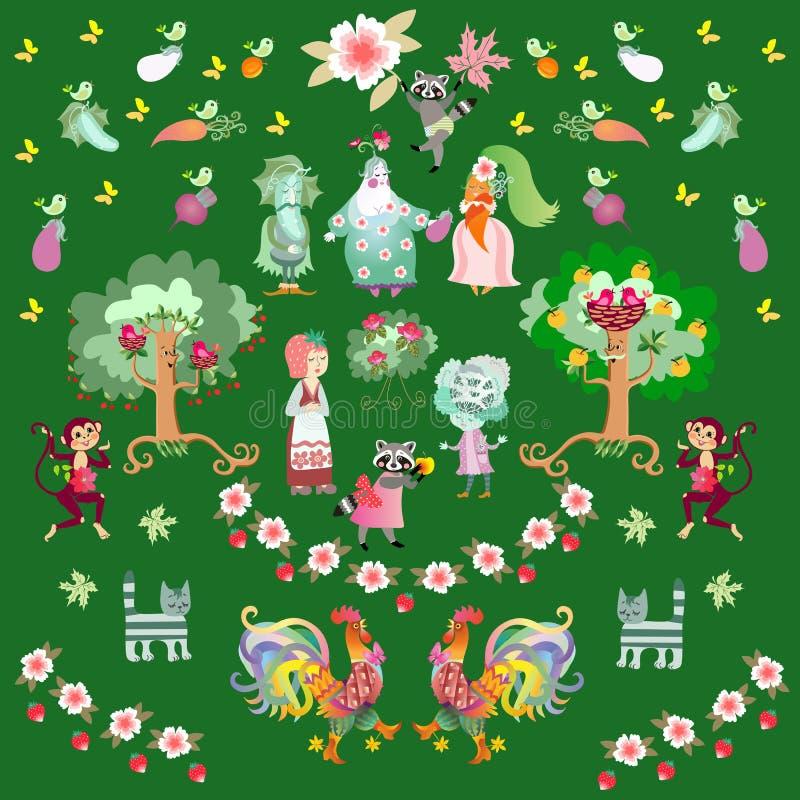 Fond d'été de conte de fées avec les ratons laveurs, les coqs, les chats et les singes mignons de bande dessinée dans le jardin illustration stock