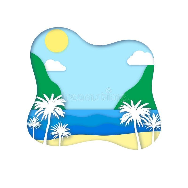 Fond d'été de vecteur avec les palmiers et la mer tropicaux illustration libre de droits