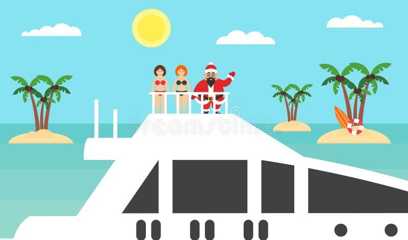 Fond d'été - plage ensoleillée Mer, palmier et Asiatique Santa sur le yacht Filles dans des bikinis Joyeux Noël et an neuf Plat m illustration de vecteur