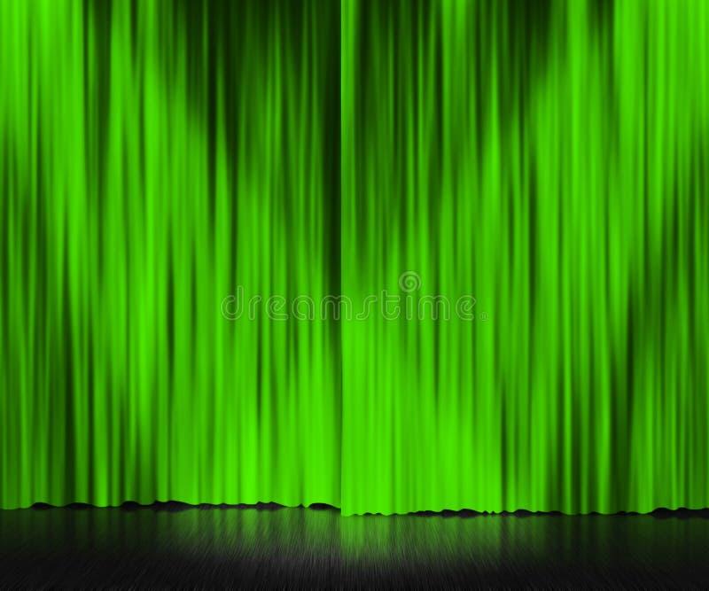 Fond d'étape vert de rideau image libre de droits
