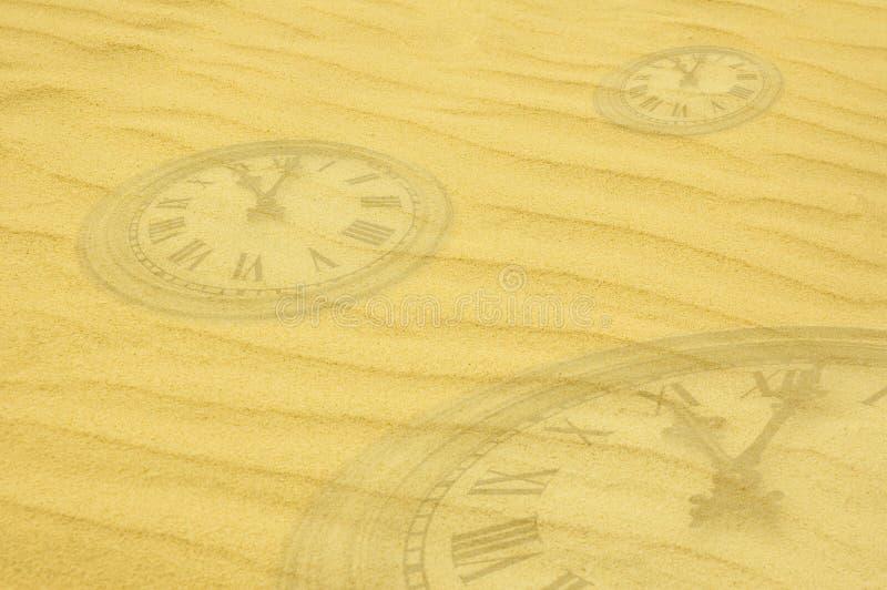 Fond d'éternité - visages d'horloge dissolvant en sable illustration de vecteur