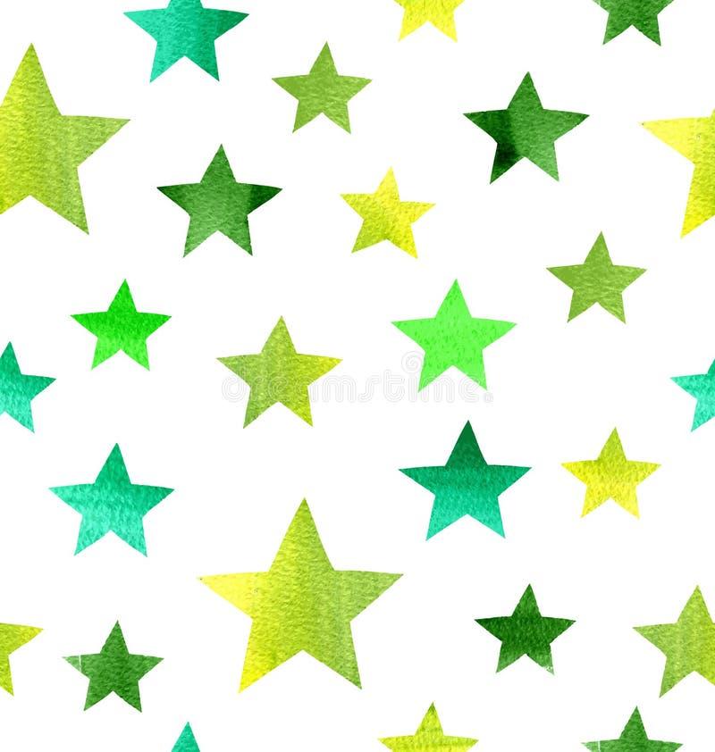 Fond d'étoile Modèle grunge sans couture d'aquarelle illustration stock